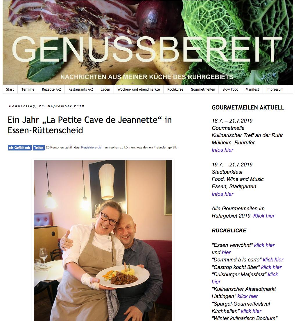 Genussbereit Blogspot im September 2018