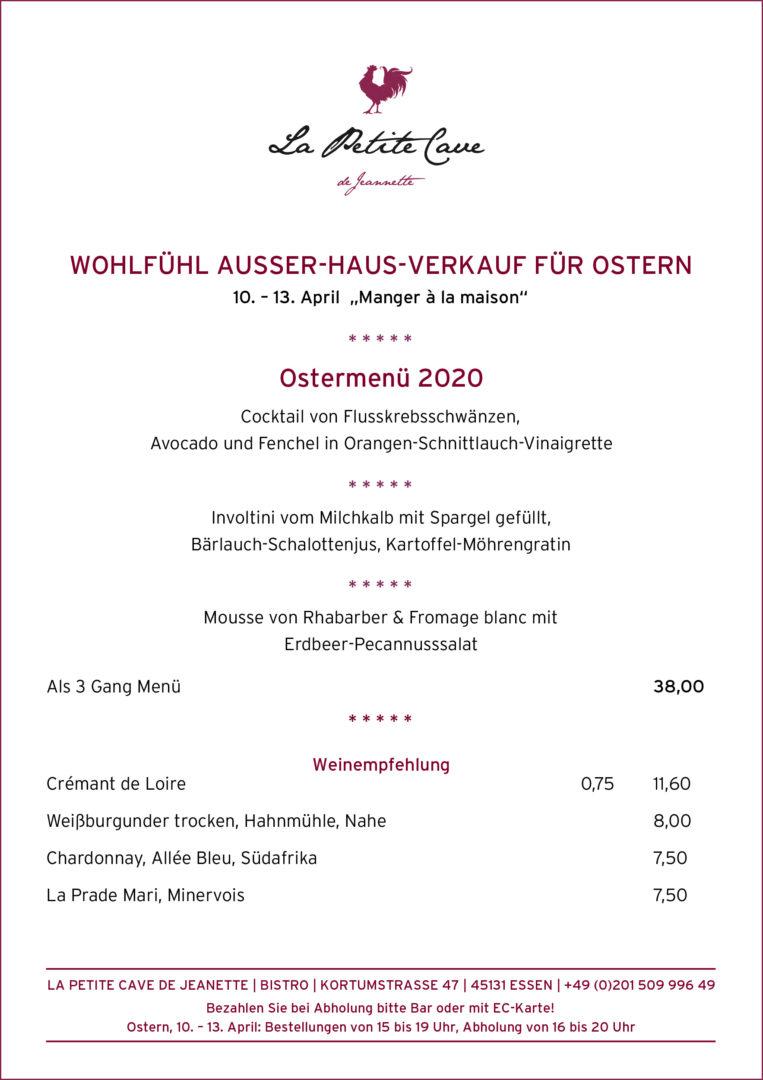 Ausser-Haus-Verkauf, Ostern 2020