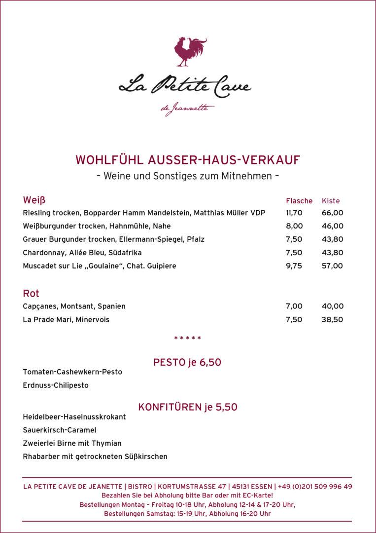 Woohlfühl Ausser Haus Verkauf, Weinkarte