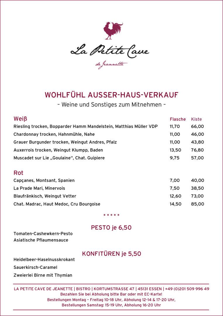 Wohlfühl Ausser Haus Verkauf, Weinkarte