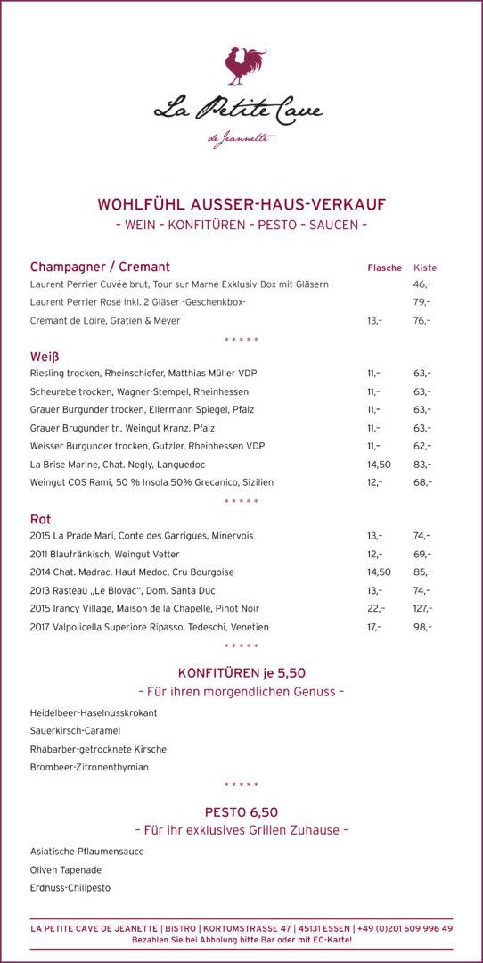 Wohlfühl Ausser-Haus-Verkauf, Weinkarte