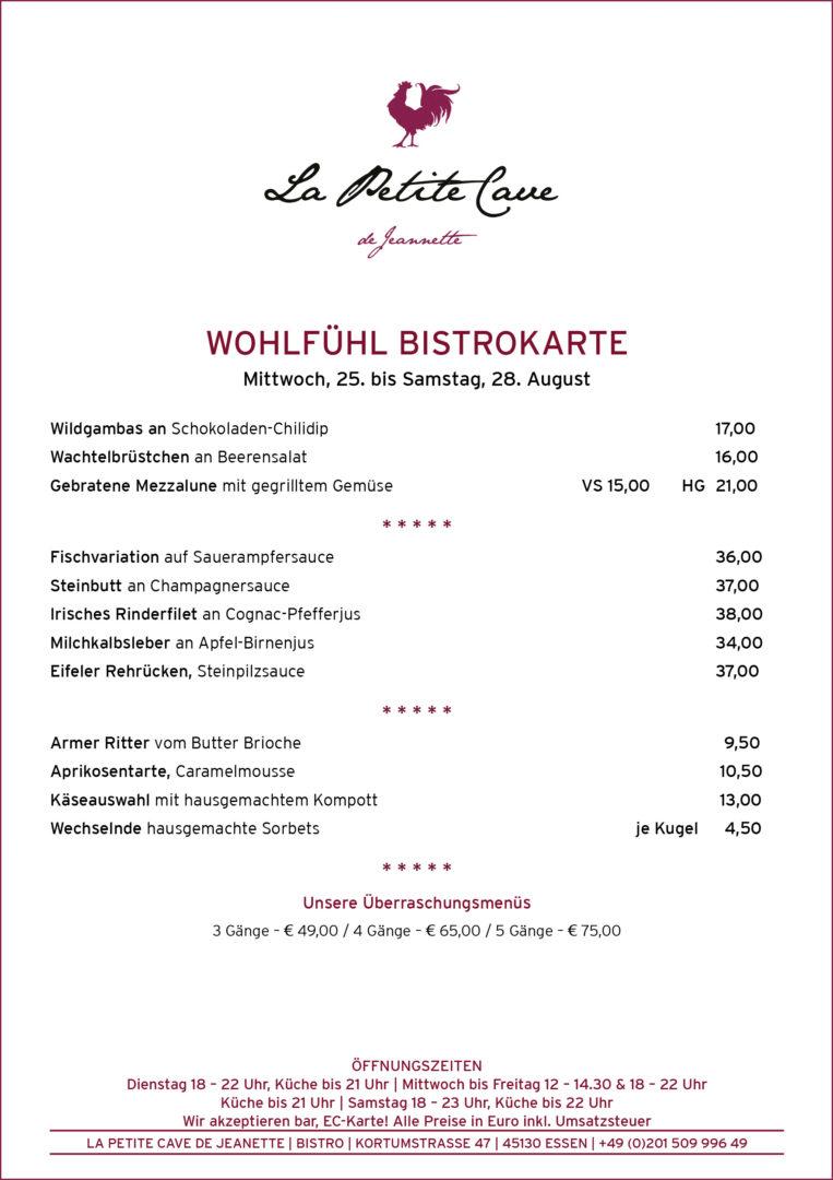 La Petite Cave de Jeannette Bistrokarte ab dem 25-08-2021