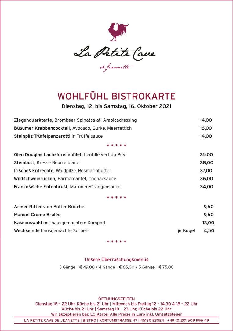 La Petite Cave de Jeannette Bistrokarte ab dem 12-10-2021